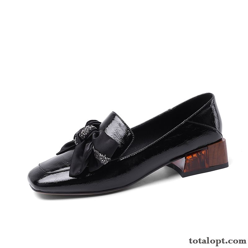 Patent Leather Student Women Black Spring Bow New Retro Carbon Black Dark Green Online