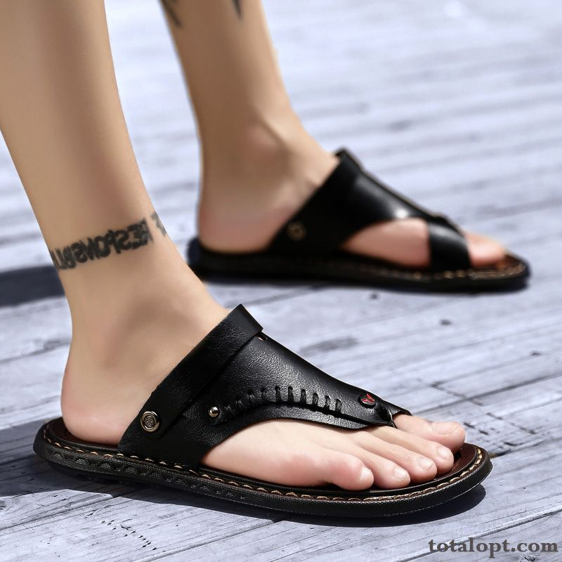 Personality Black Summer New Flip Flops Sandals Genuine Leather Outwear Slippers Trend Men's Sienna Lake
