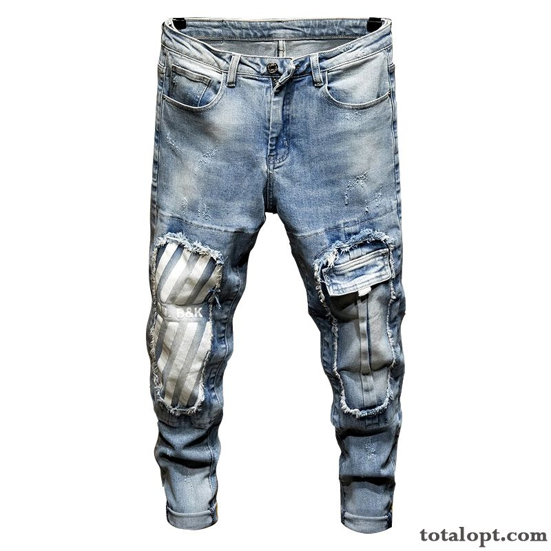Personality Jeans Patch Trousers All-match Men's Blue Trend Hole Light Loose Nude Lemon