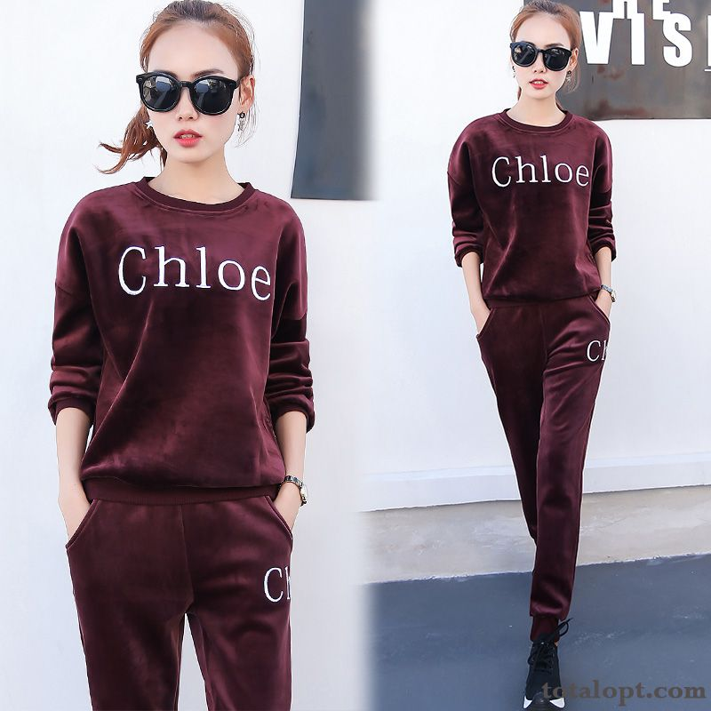 3c0b3e7d1cc Plus Velvet Sweatshirt Sided Winter Gold Hoodies Thickening Women s Two-piece  Suit New Coral Snowy