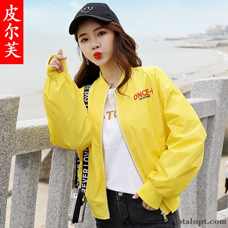 Printing Loose Girl Jacket Coat Spring Autumn Flower Shorts Student Sky Blue Lemon Discount