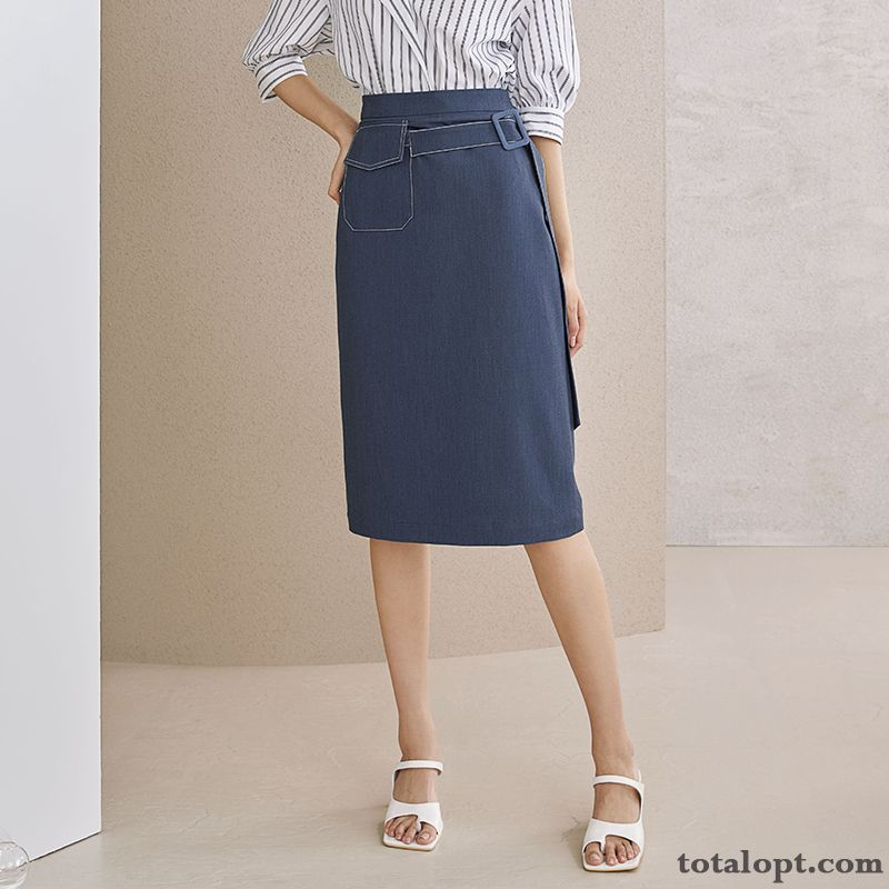 Professional A Letter High Waist Dark Slim New Women's Summer Long Section Blue Thin Smoky Gray Rose Discount