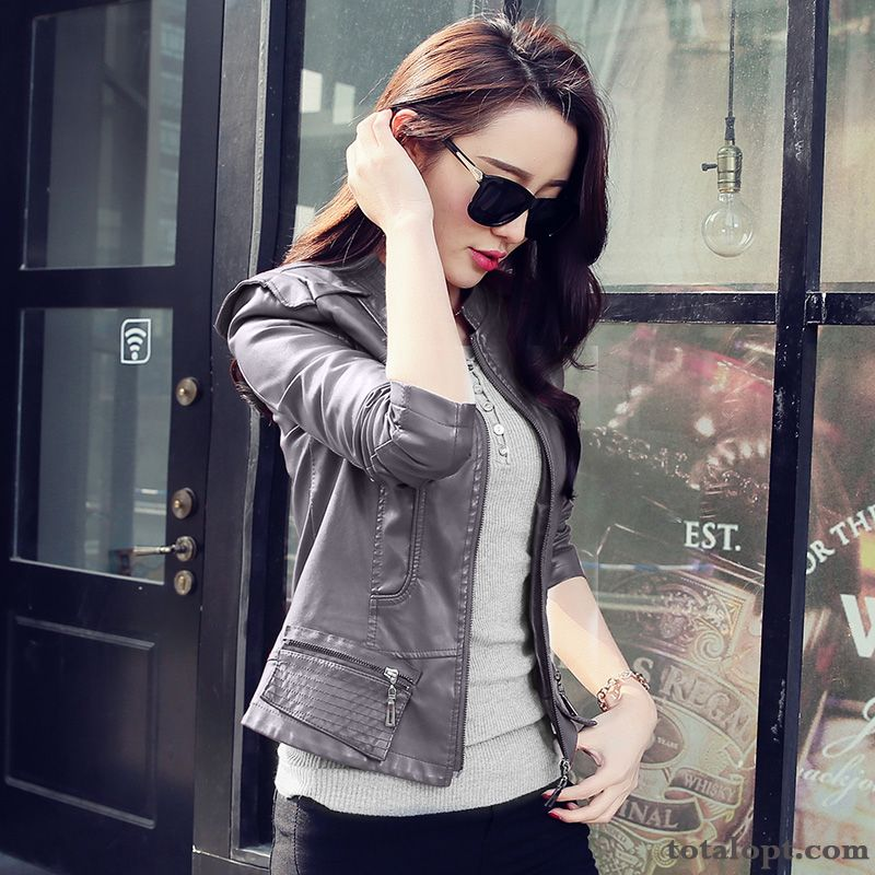 Pu Coat Leather Shorts New Autumn Slim Europe Women's Jacket Spring Wheat Darkgray