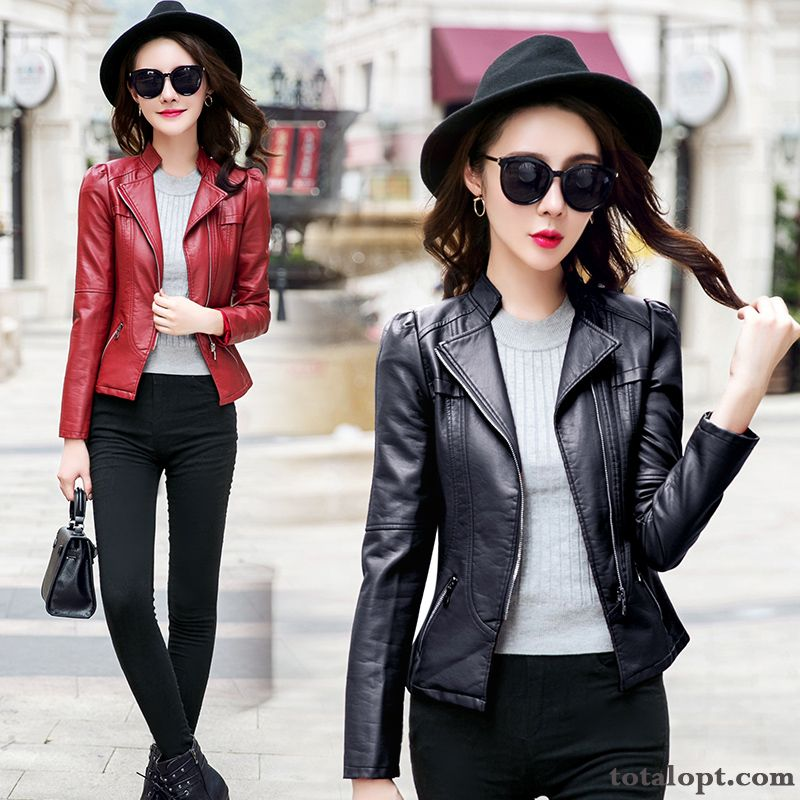 Pu Spring New Red Jacket Black Europe Short Women's Autumn Leather Coat Slim Lavender Offwhite Online