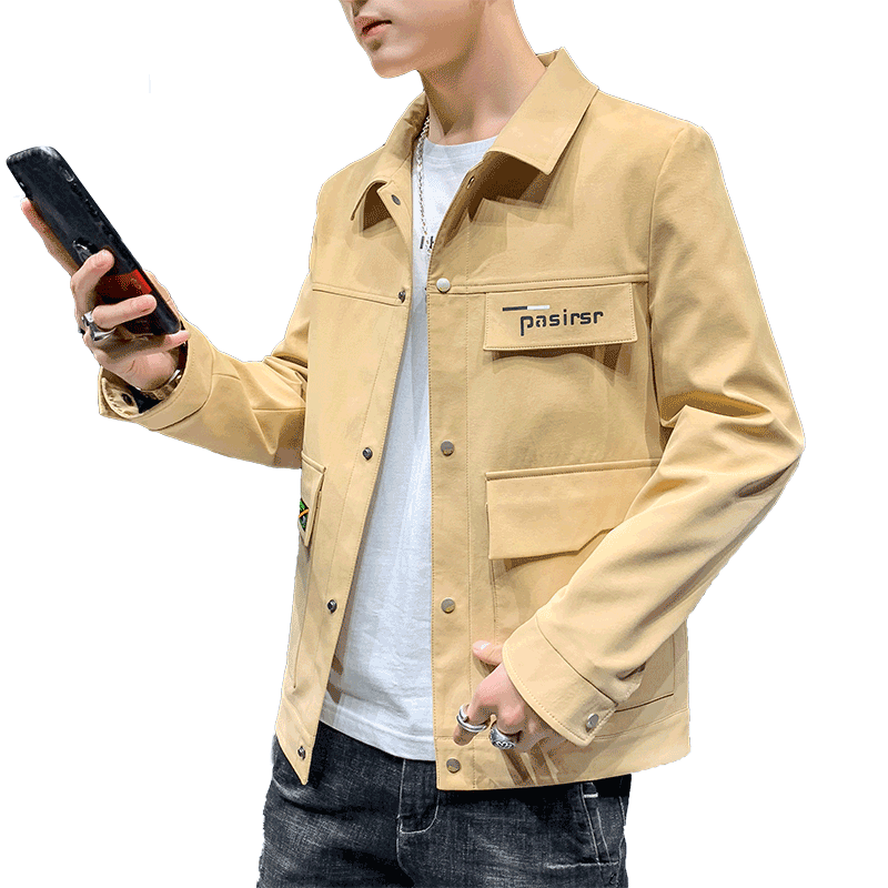 Pure Coat Men's Tooling Personality Trend Europe Jacket New Lapel Coffee Dull Black Online