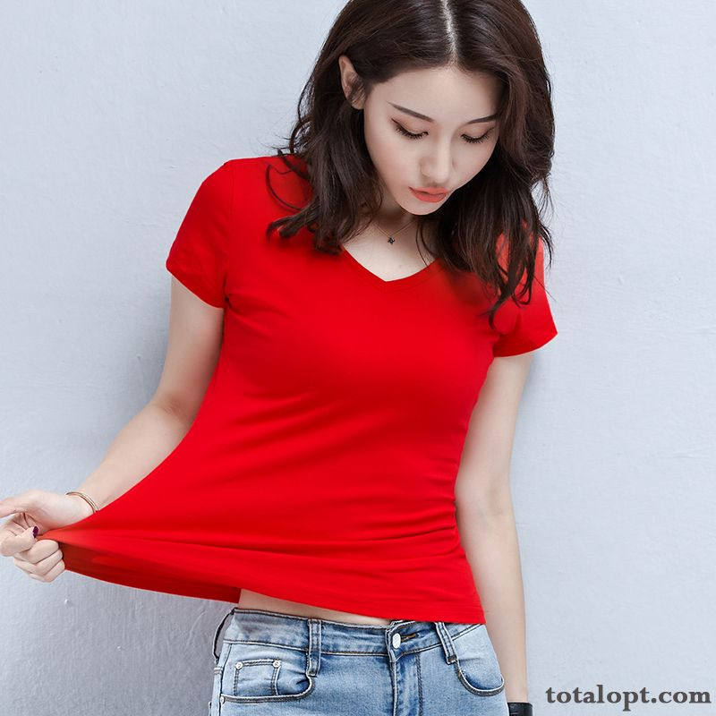 Pure Summer Shorts Cotton Coat Tight V-neck Women's Slim T-shirt Big New Red Snow Plum For Sale