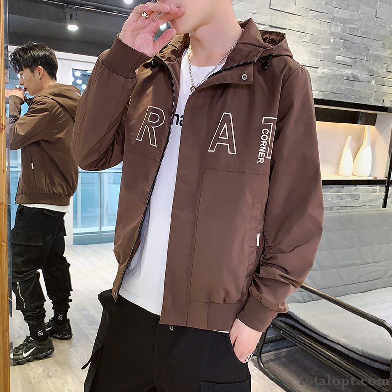 Red Autumn Coat Jacket Leisure Men's Fashion Europe Hooded Youth Simple All-match Trend New Oyster White Pea Green Online
