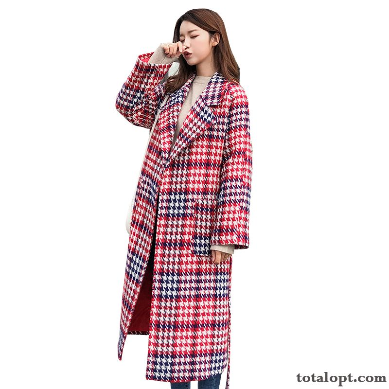 Red Europe Coat Long Section Fashion Checks Temperament Autumn Woolen Cream Pure White