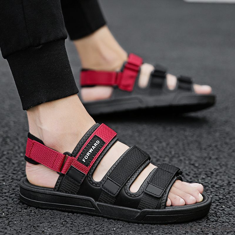 Red Fashion Black Sandals Trend Mesh Men's Outwear Personality Slippers All-match Beach Cherry Coral For Sale