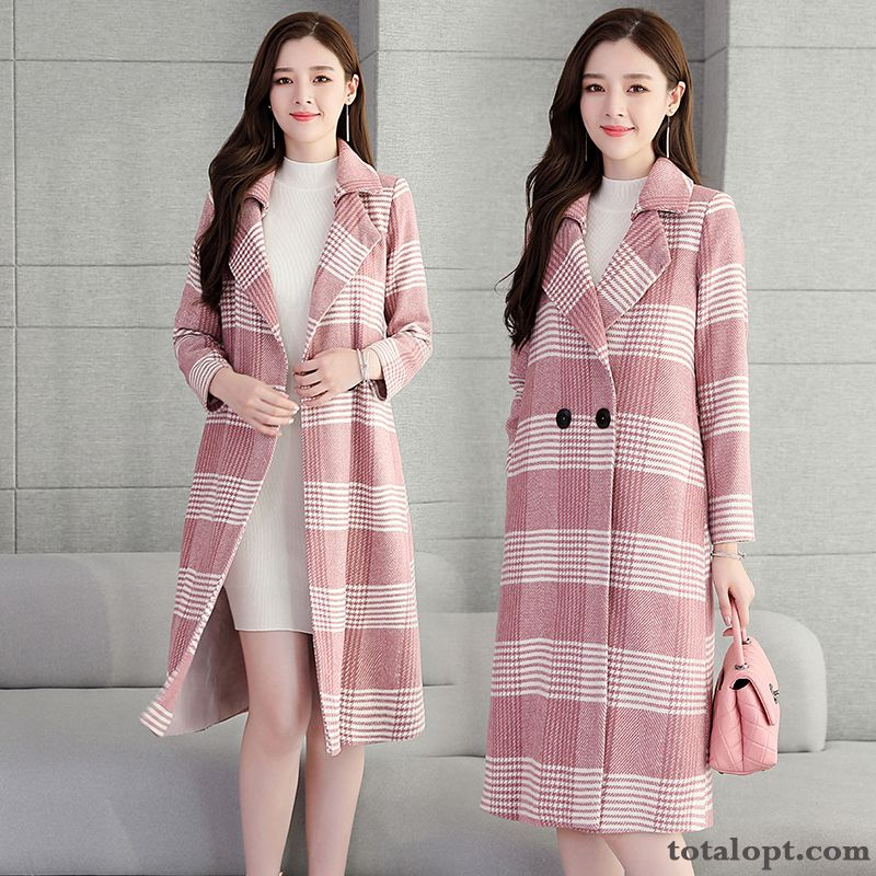 Red Sort Buttons Autumn Pink Slim New Coat Temperament England Thin Woolen Long Sleeves Long Section All Black Iris