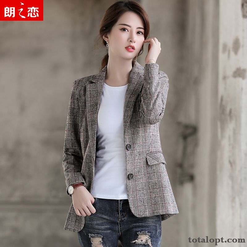Retro Coat England Blazer Suit Checks New Professional Europe Spring Women's Autumn Sallow White Sale