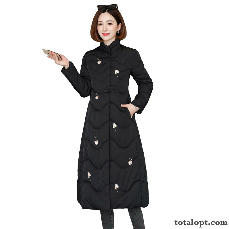 Retro Embroidered Long Section Single Row Button Winter Sweet Slim Thickening Black Pure Simple Cotton Darkgreen Blue