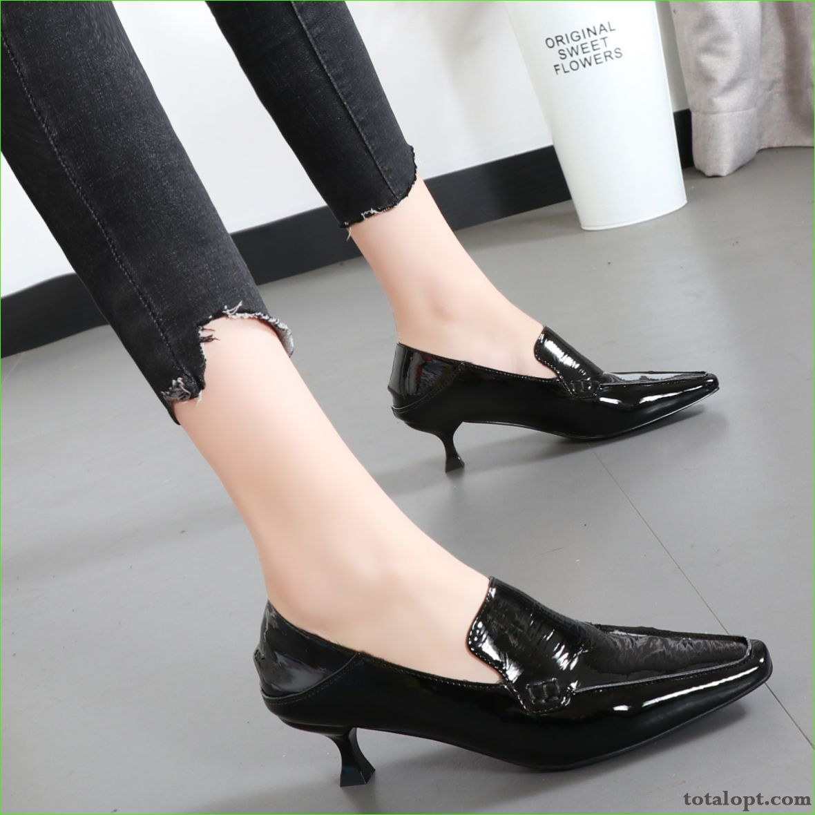 Retro Spring Women New Black Patent Leather Autumn Small Silver White Brown
