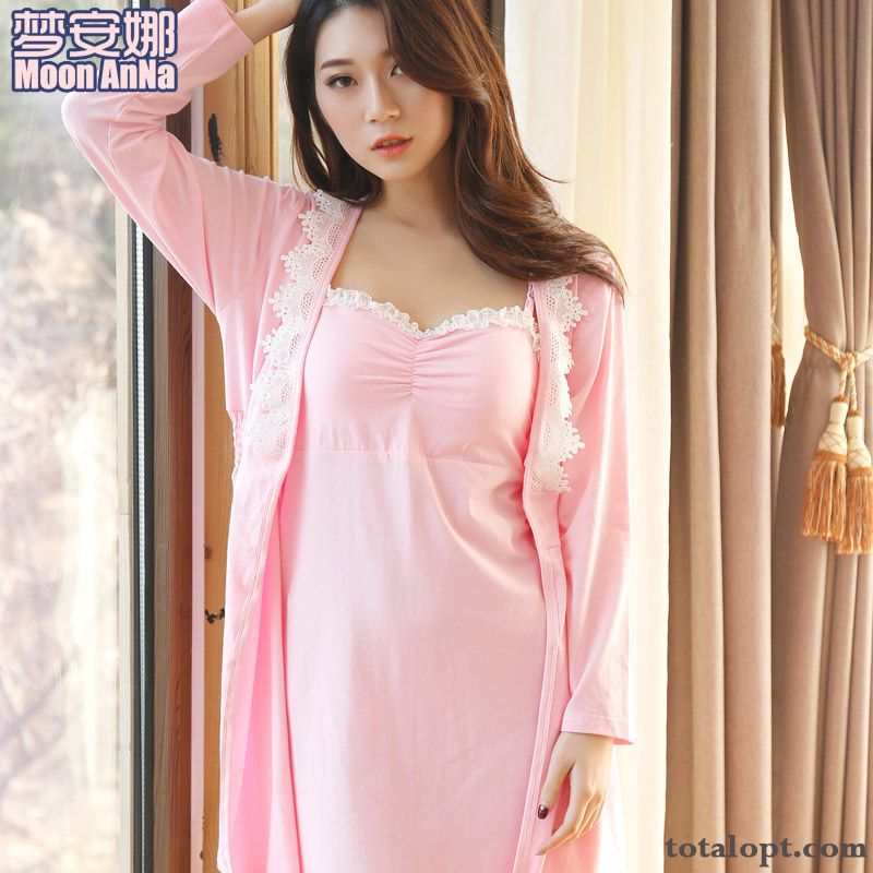Robes Lady Pajamas Camisole Sexy Spring Summer Two-piece Suit Autumn Long Sleeves Oyster White Sandy Beige Sale