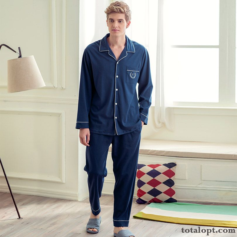 Robes New Autumn Men's Cardigan Pajamas Cotton Long Sleeves Large Size Trousers Pure Spring Royalblue Turquoise Blue