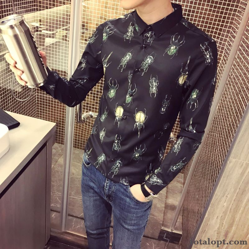Shirt New Black Flower Slim Men's Long Sleeves Europe Autumn Trend Personality Printing Ivory Lavender