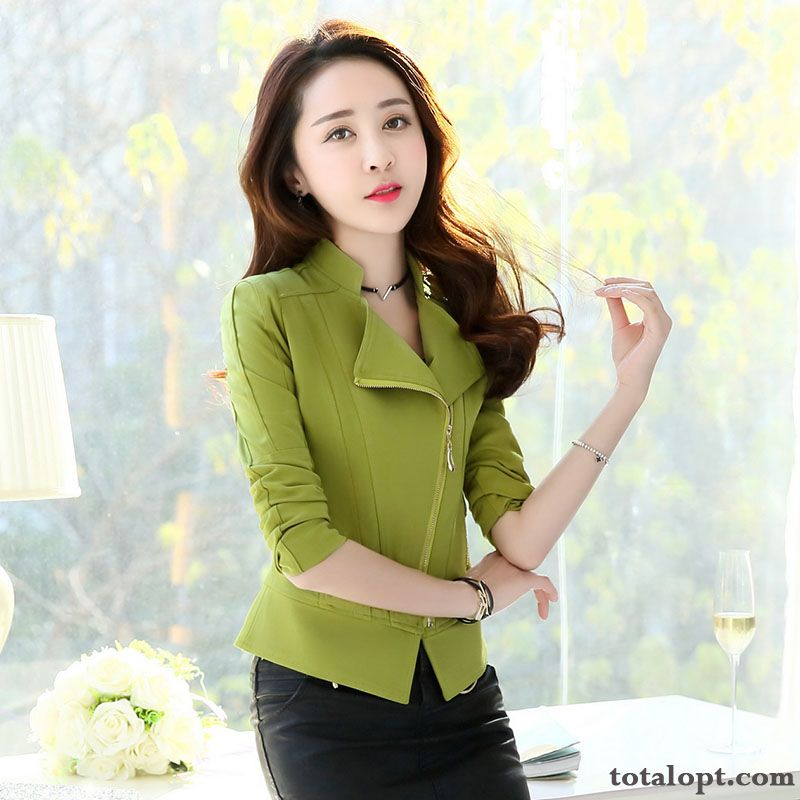 Short Europe All-match Coat New Suit Temperament Women's Autumn Slim Fashion Bisque Snow-white