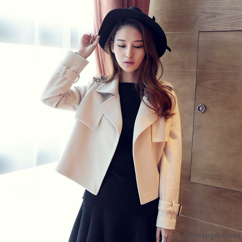 Short Europe Coat Trend Woolen Women's Thin Autumn Slim Winter New Jacket Carbon Black Rosybrown For Sale