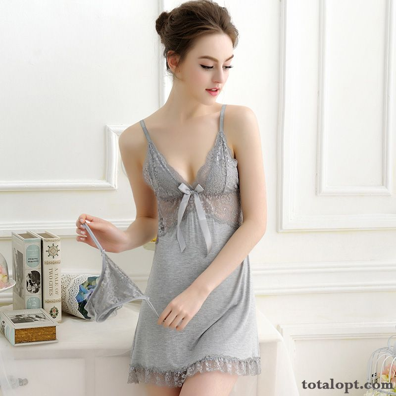 Short Skirts Camisole Pajamas Hollow Sexy Comfortable Women's Summer Lace Gray All Black Iris