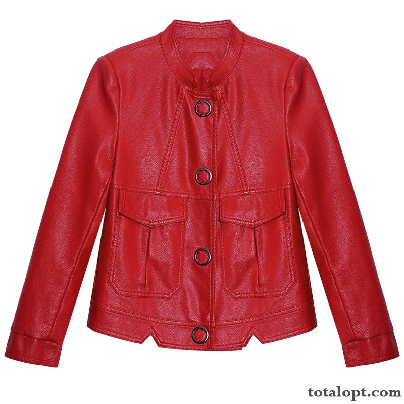 Short Spring Women's Leather Red New Fashion Jacket Coat Pearl White Pitch-dark Sale