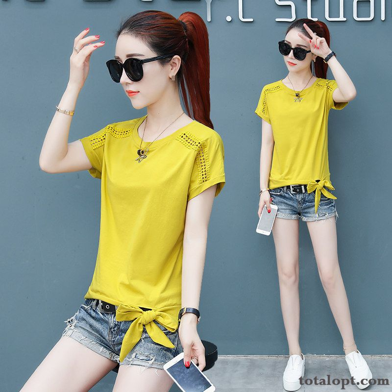 Shorts Cotton Women's Summer T-shirt Pure Half Sleeve Coat Ultra All-match Fresh Europe New Olive Green Deep Yellow For Sale