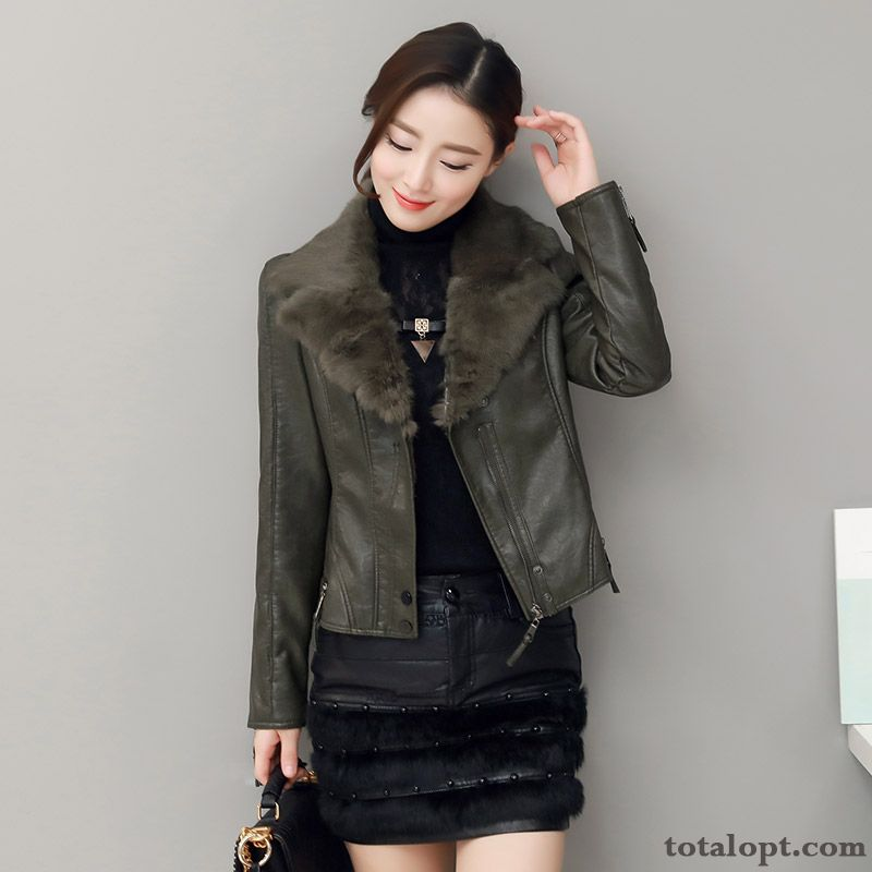 Shorts Leather Coat Plus Velvet Slim New Jacket Trend Winter Clothes Washing Lady Thickening Dark Green Grape