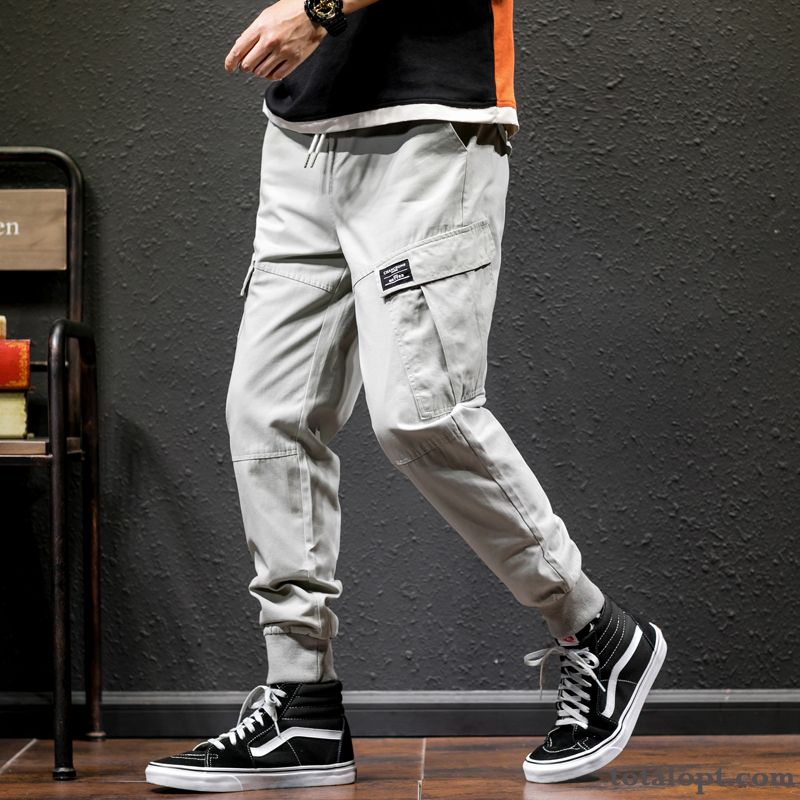 Skinny Summer Pants Loose Gray Trend Men's Leisure Europe Sport Tooling Green Salmon For Sale