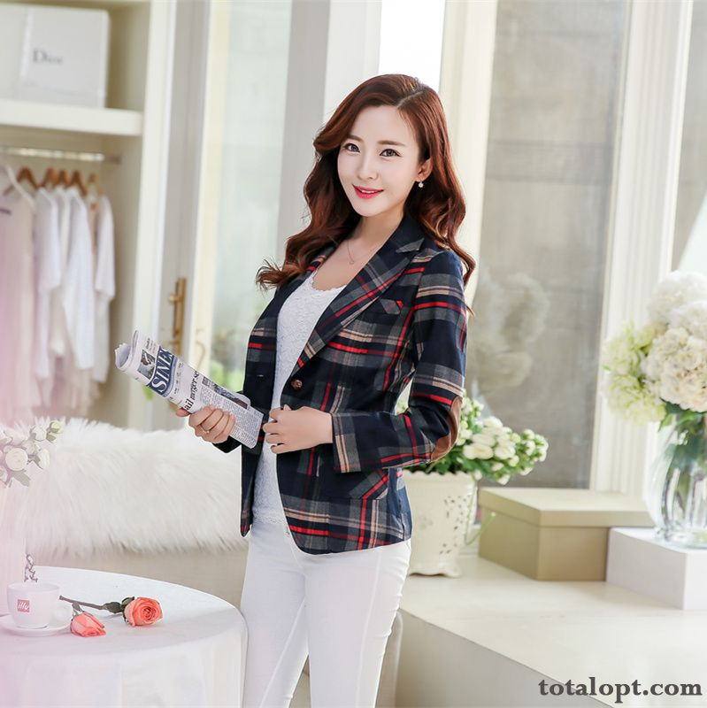 Slim Blazer Long Sleeves Coat Suit Short Leisure Large Size Women's Autumn Checks Turquoise Earth Yellow Online