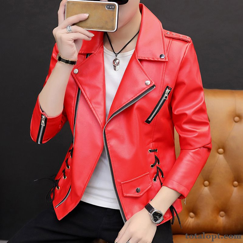 Slim Coat Youth Leather Red Autumn Spring Men's Europe Jacket Student Pale Purple Blue