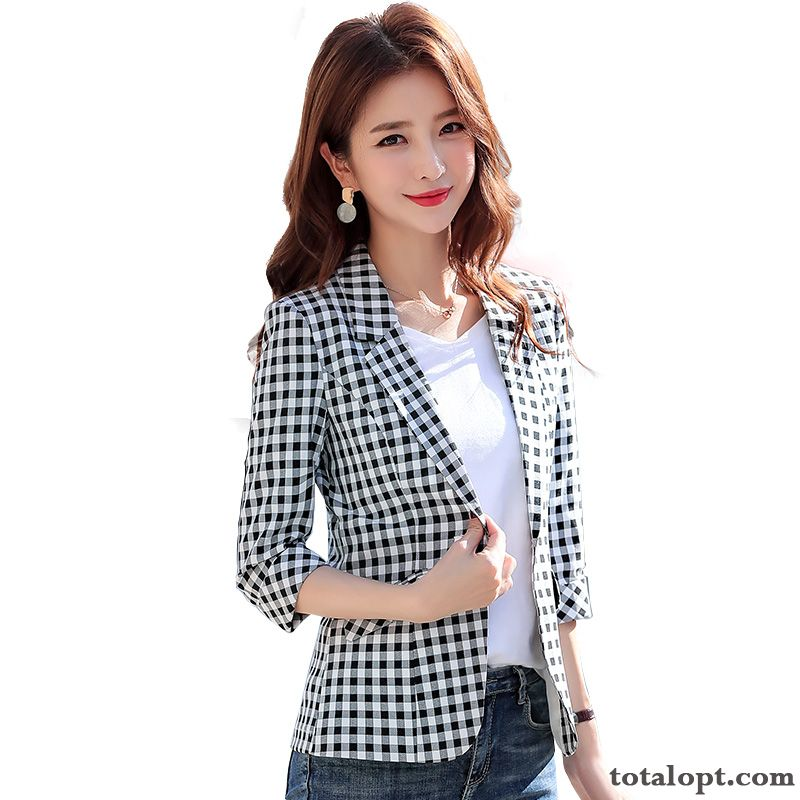 Slim Leisure New Women's Short Spring Black Europe Thin Suit Summer Coat Red Autumn Snow-white All White