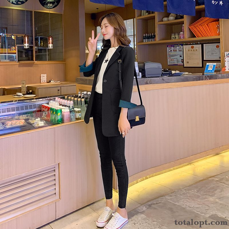 Slim Long Section Coat Spring Suit Lady Red New Autumn Leisure Black Blazer Tomato Cherry Online