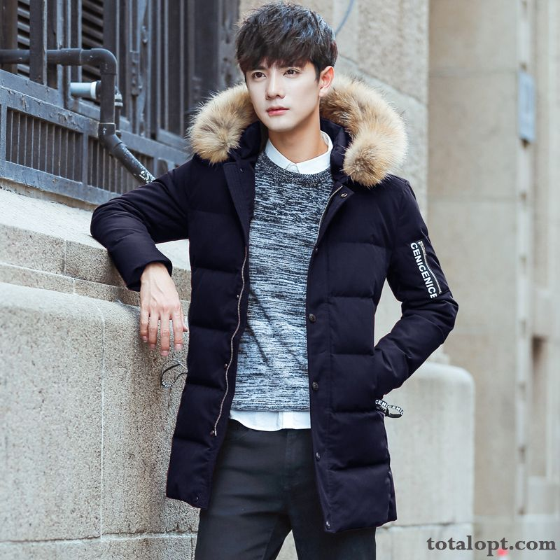 4475497bdccb0 Slim Long Section Down Jacket Coat Thickening Student Winter Clothes Youth  Men s Trend Europe Warm Orange