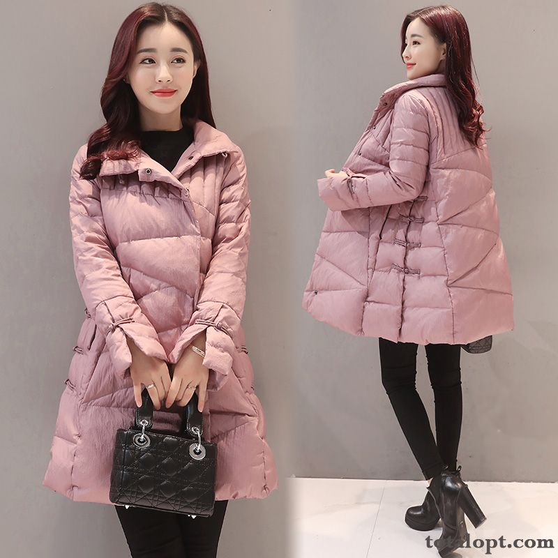 Slim Long Section Down Jacket Retro New Coat Pink Trend Women's Popular Thin Winter Tea Green Gold