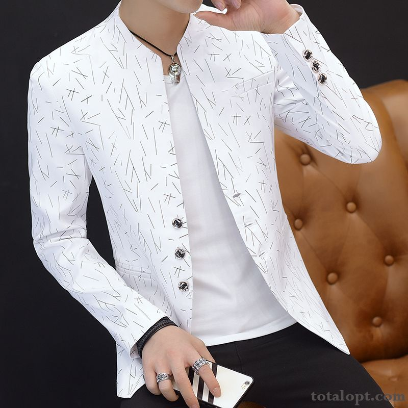 Slim Men's Stand Collar Youth Printing Coat Flower Leisure Suit Trend White Europe Dull Black Ivory White