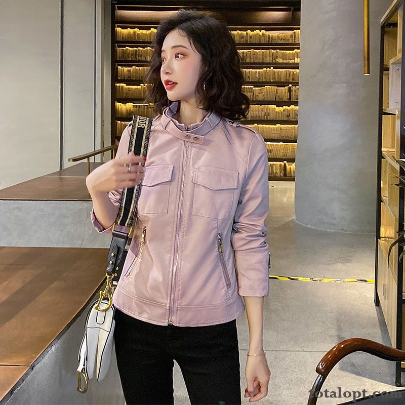 Slim Temperament Pink Europe Short Lady Trend New Thin Spring Coat Leather Navy Silver Sale