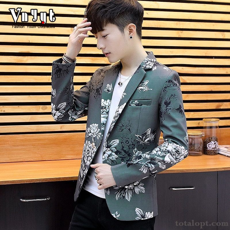 Slim Youth Leisure Coat Printing Europe Flower Personality Men's Suit Paleturquoise Iris For Sale