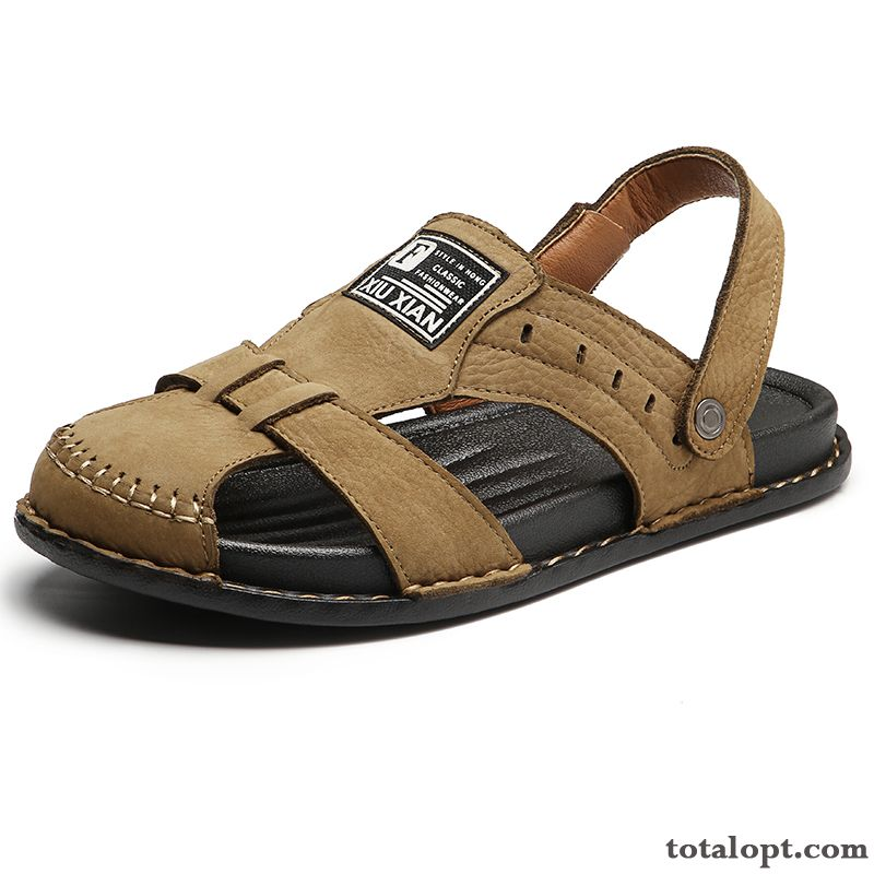 Slippers Men's New Brown Sandals Trend Summer Beach Genuine Leather Lake Turquoise Discount