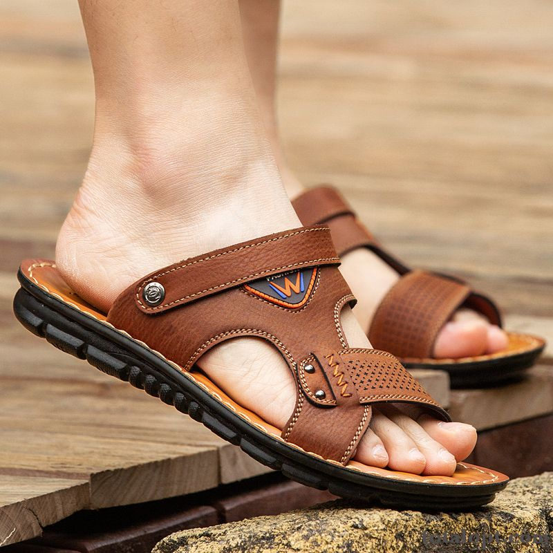 Soft Sole Beach Outwear Trend Summer Slippers Casual Driving Sandals Anti-skid Brown Men's Ocean Blue Powderblue Sale