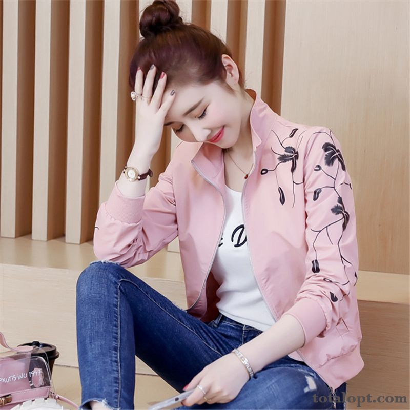 Spring All-match Autumn Jacket New Ultra Student Europe Women's Shorts Pink Cardigan Coat Skinny Iris Red