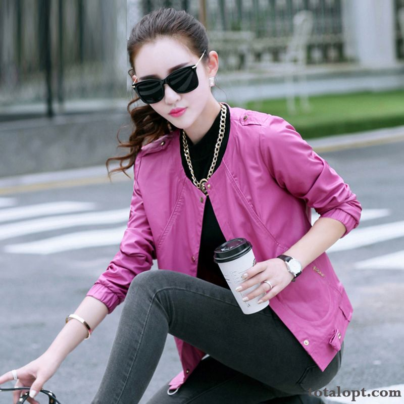 Spring Europe Leather Jacket Women's Leisure Coat Shorts Temperament Thin All-match New Products Dull Black All Black For Sale