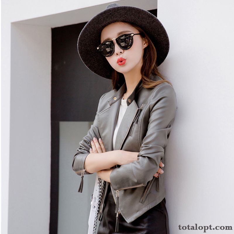 Spring Jacket Leather Winter New Europe Autumn Slim Lady Coat Short Women's Pu Peacock Blue Henna