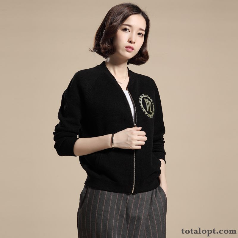 Spring Knitting Coat Short Europe Women's Jacket All-match New Long Sleeves Autumn Navy Khaki
