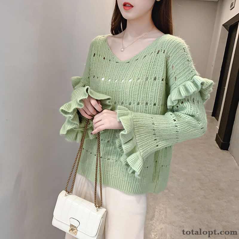 Spring Red Women's Sweater Pullovers Loose Lotus Leaf New Short Knitwear Sweater Autumn All-match Pure Hollow Skyblue Nude