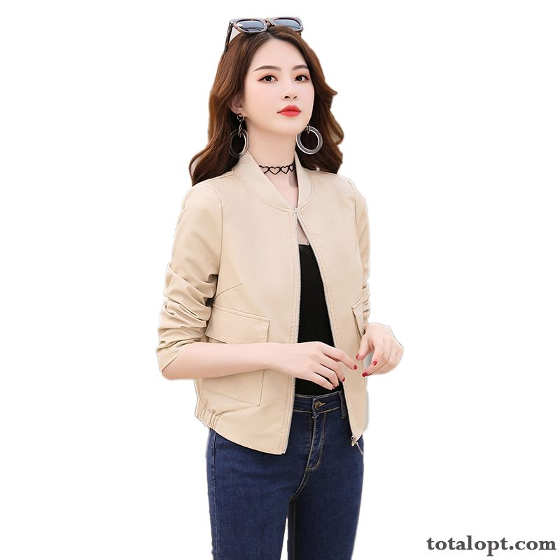 Spring Short Trend Coat Women's New Leather Autumn All-match Leisure Jacket Pansy Gray Online