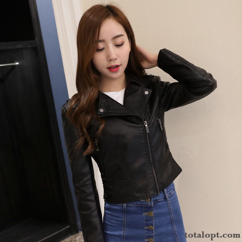 Spring Women's Slim New Pink Pu Autumn Jacket Short Europe Trend Coat Leather Turquoise Blue Raw White