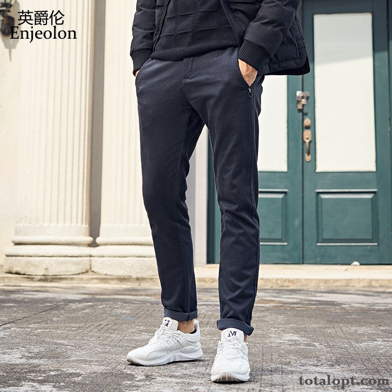 Straight Black Europe Leisure Trousers Slim Pants Simple Men's Autumn Skinny Sky Blue Earth Yellow