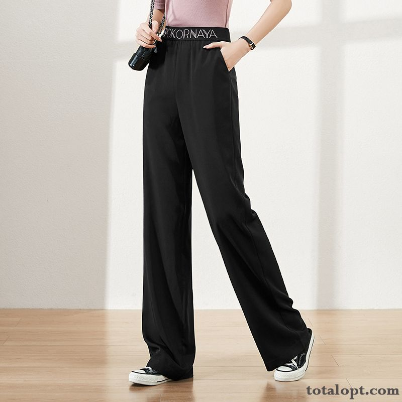 Straight Loose Pants Letter Leisure Suit New Women's Spring Black Elastic Blue Nude
