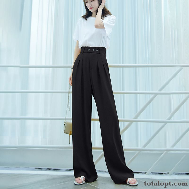 Straight Spring Suit Leisure Summer Black Loose Women's High Waist Thin Pants White Winered Dark Green