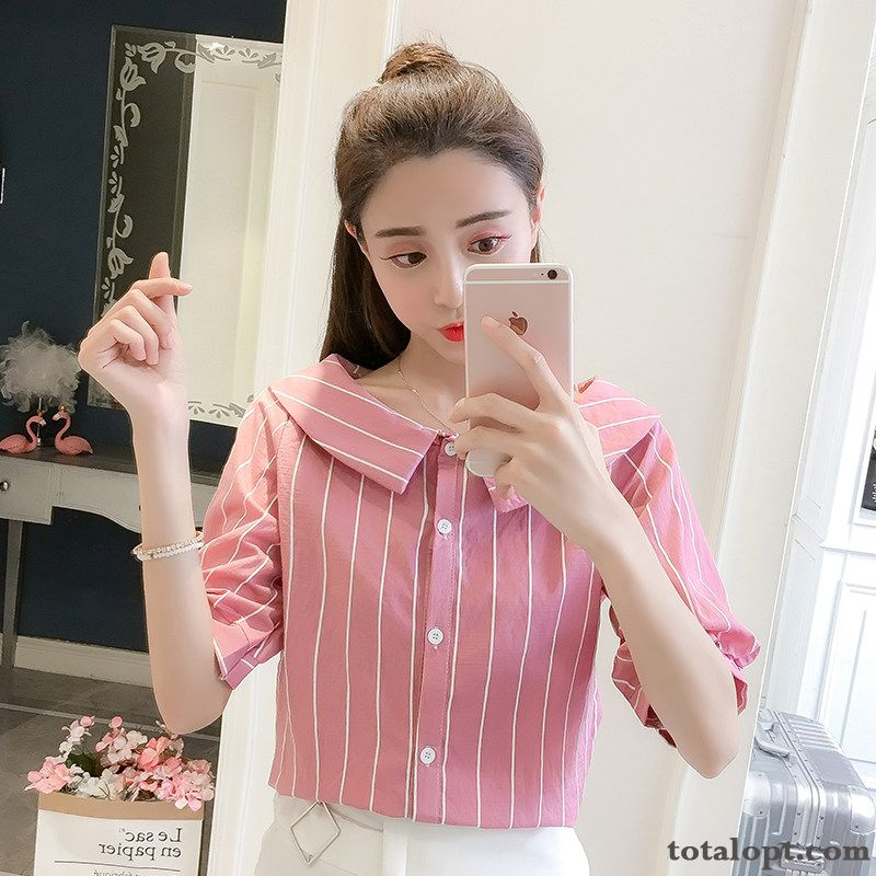 Stripes Splicing Trend Lady Shorts Women's Sweet Single Row Button New Summer Pink Temperament Shirt Tomato Green Discount