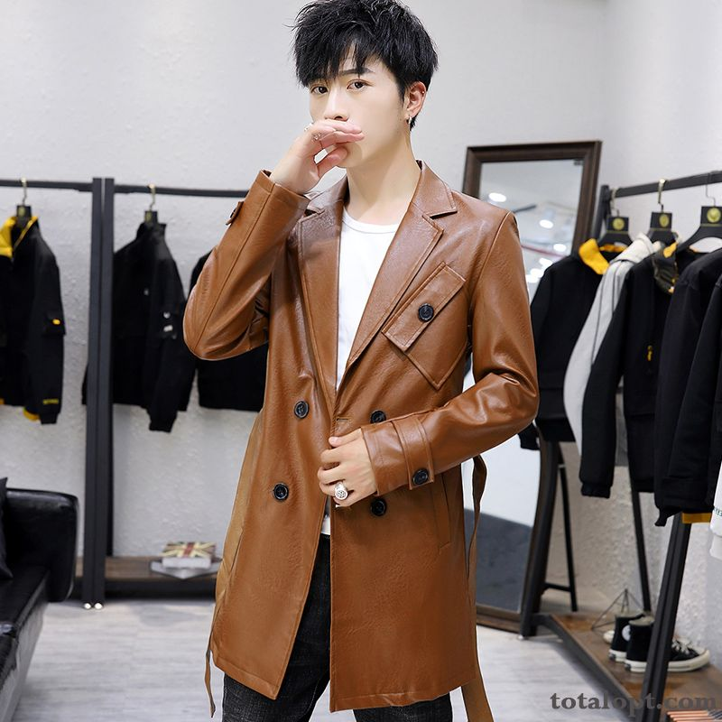Student Spring Jacket Youth Autumn Men's Leather Slim Coat Long Section Trend Ivory Silver White Online
